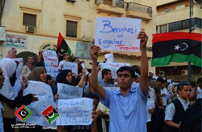 Libyans protest yesterday against killing of US officials in Benghazi