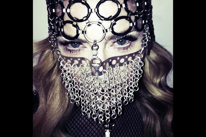 What could this mean? Madonna in chain-mail Muslim niqab. (Image: Facebook)