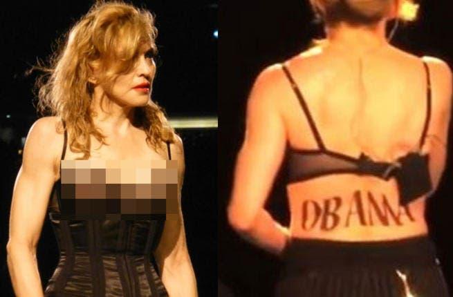 Madonna displays her 'Obama' back for Washington DC