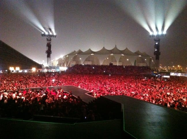 US pop icon Madonna hit the stage running at Abu Dhabi's Yas Island Stadium in her first-ever concert in the Gulf.