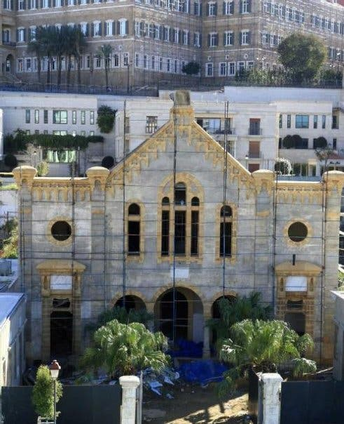 Historic renovation of the Maghan Abraham Synagogue in central Beirut underway in January 2010 (Photo: Facebook)