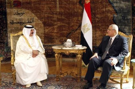 Egypt's interim president Adly Mansour previously met with Bahrain's King Hamad to discuss investment ties. Egypt hopes to extend investment ties with other GCC nations as well in the upcoming months (Courtesy of Bahrain News Agency)