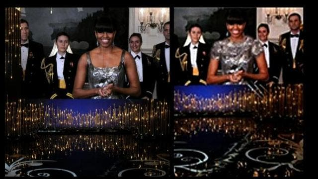Left: Michelle Obama announcing the best picture winner at the Oscars. Right: The same image, as it appeared on an Iranian state news agency. (CBS News/Fars)