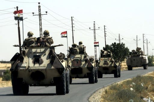 Egyptian military vehicles drive through Sinai, Egypt. AFP image for illustrative purposes.