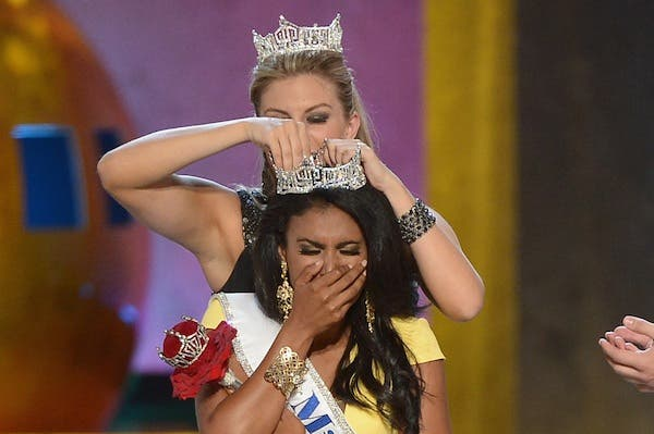 Miss America 2014 contestant Miss New York Nina Davuluri is crowned 2014 Miss America.