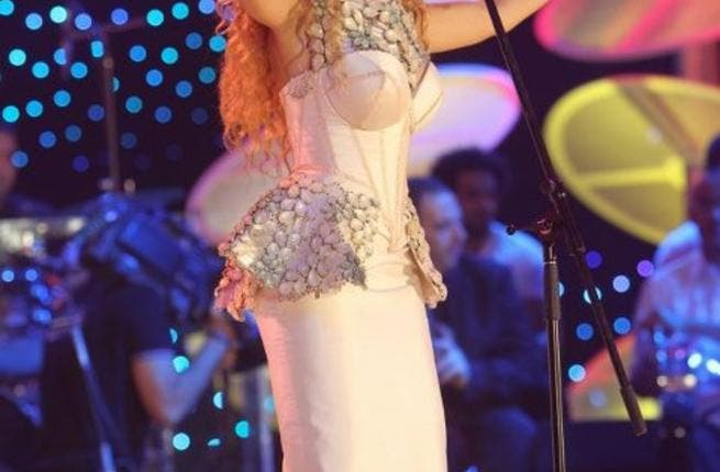 Myriam Fares performing in the 'Cinderella' gown