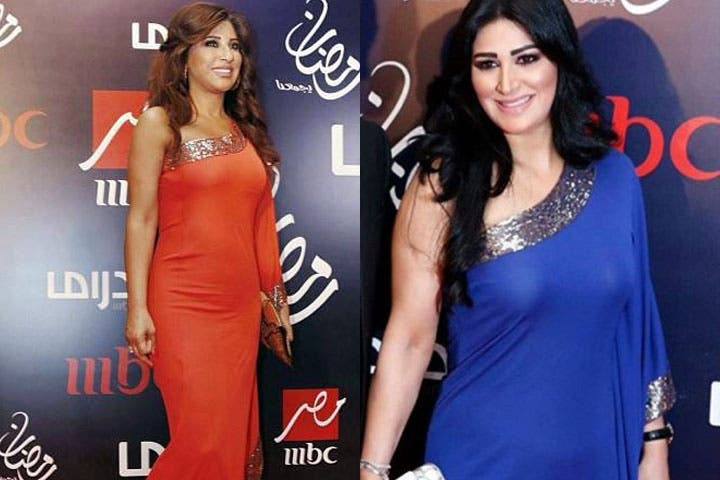 Najwa Karam and Saber Rebai's wife wore the same dress at the MBC dinner in Dubai. (Image: Facebook)