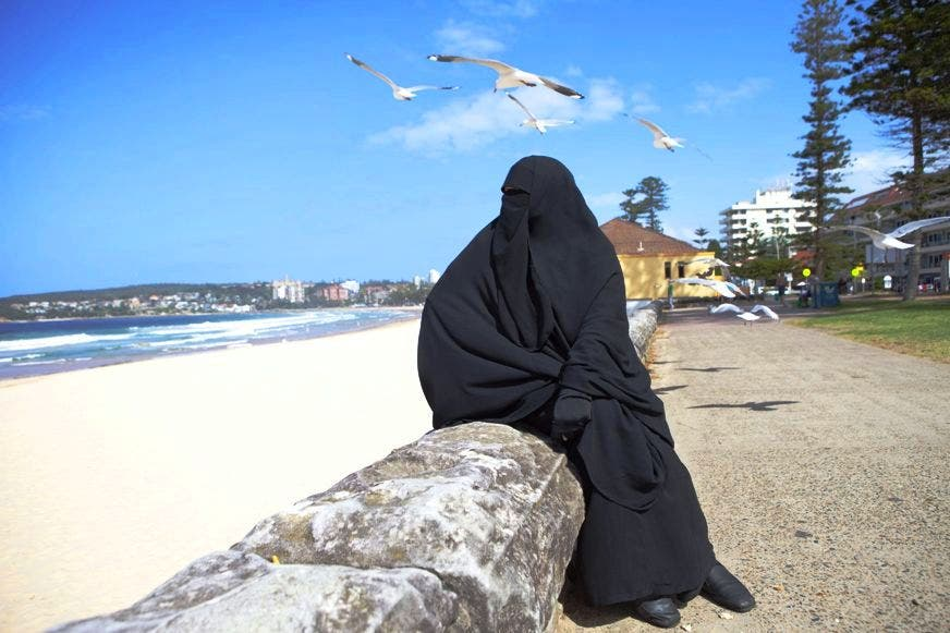 Burqa on the beach