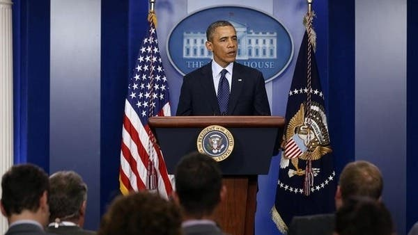 President Barack Obama talks about the explosions at the Boston Marathon at the White House on Tuesday. (Photo: Al Arabiya)