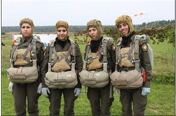 The Palestinian beauties (some looking happier than others) show off their paratrooper uniforms (Image courtesy of Maan News Agency)