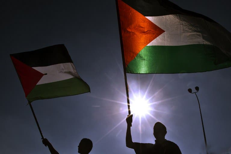 Flags fly at a protest against Israeli plans to relocate bedouins on July 15. (source: AFP / Jack Guez)