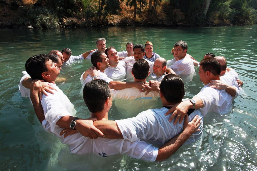 Baptism site at Jordan river believed to be where Jesus himself was baptized is the site of many Christian Arab baptisms today.