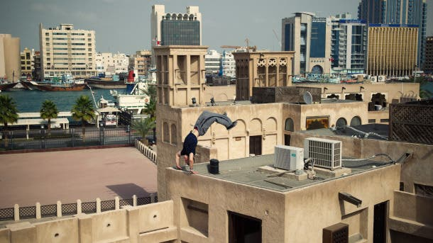 World famous freerunner Ryan Doyle has been practicing parkour in Dubai (Photo: Naim Chidiac/Red Bull Content Pool)
