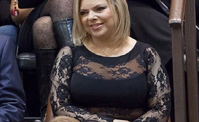Sarah Netanyahu's dress, which had transparent lace exposing her arms, shoulders and stomach, has been criticized by both conservative and secular Israelis (Photo courtesy of Haaretz newspaper)