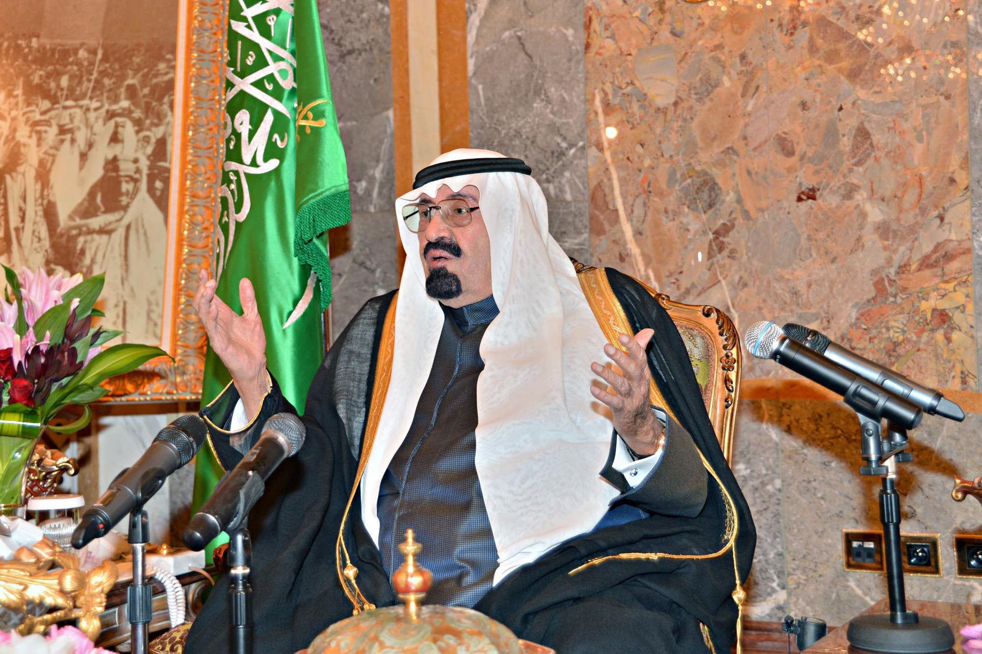King Abdullah bin Abdul Aziz speaking during the inaguration ceremony of the Shura Council at his palace in Riyadh (Photo courtesy of AFP/HO/SPA)