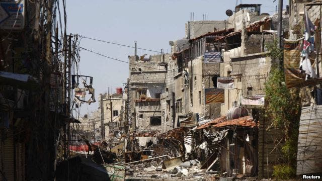 Clashes between rebels and regime forces have destroyed the neighborhoods near Sayeda Zainab (Courtesy of Voice of America)