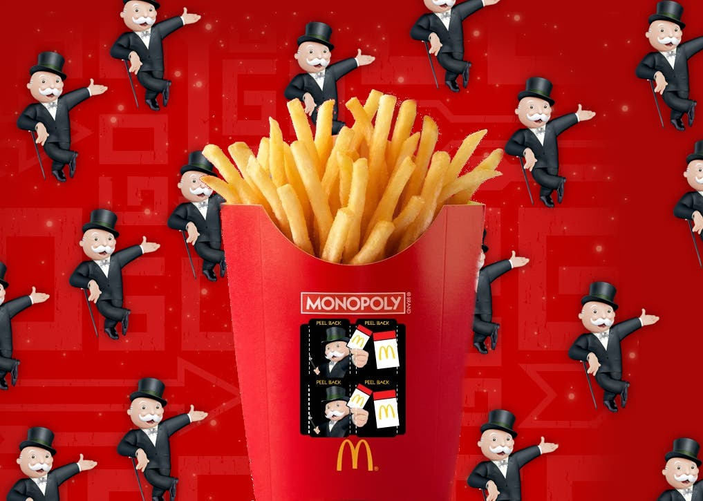 Monopoly money at McDonald's equals free fries!
