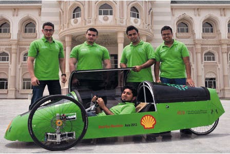 A team of mechanical engineering students from the American University of Sharjah have built the ultimate green machine and are all set to take part in the 2013 Shell Eco-Marathon.