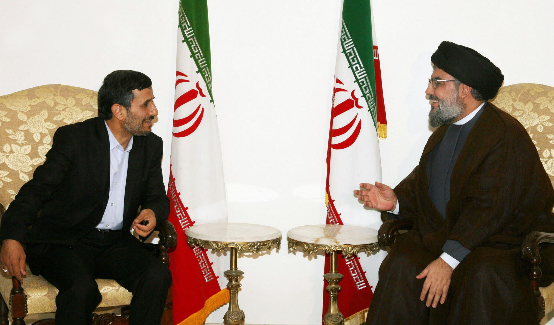 Hezbollah chief Hassan Nasrallah with Iran President Mahmoud Ahmadinejad