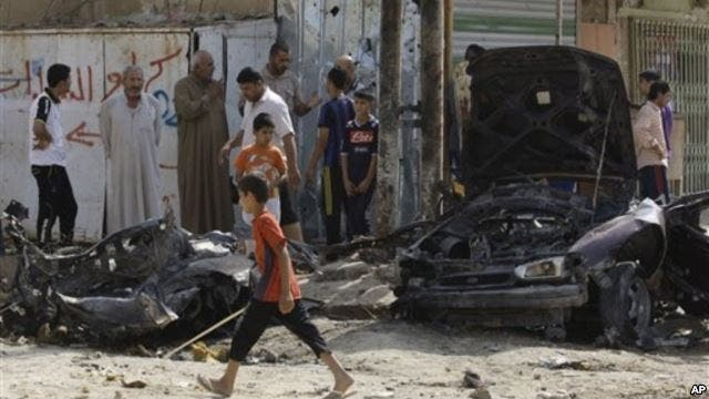 Sunni militants targeted Baghdad's Shiite neighborhood Husseiniyah earlier this year (Courtesy of Voice of America)