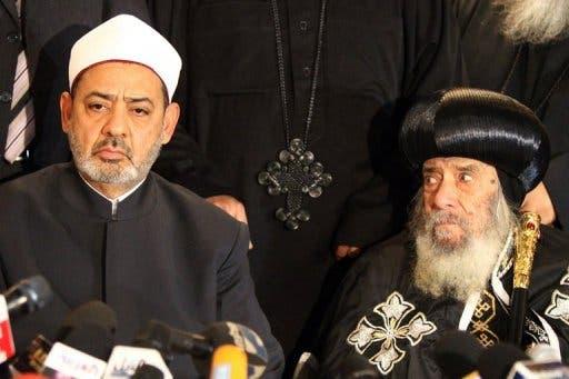 Pope Shenouda III of Alexandria (R) and Egyptian Grand Imam of Al-Azhar Ahmed al-Tayeb.