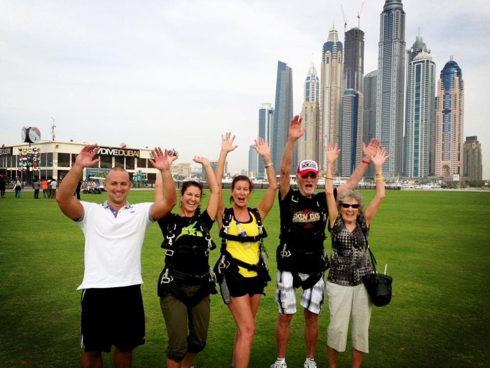 Dick Corbit with his family in Dubai at SkyDive Dubai.