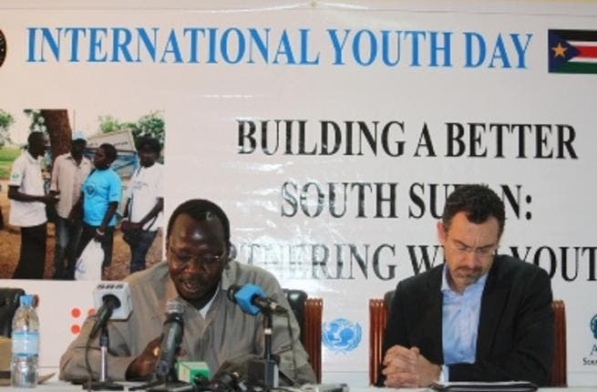 South Sudan's youth and sports minister, Cirino Hiteng (L) and Toby Lanzer, the new UN Humanitarian Coordinator for South Sudan.