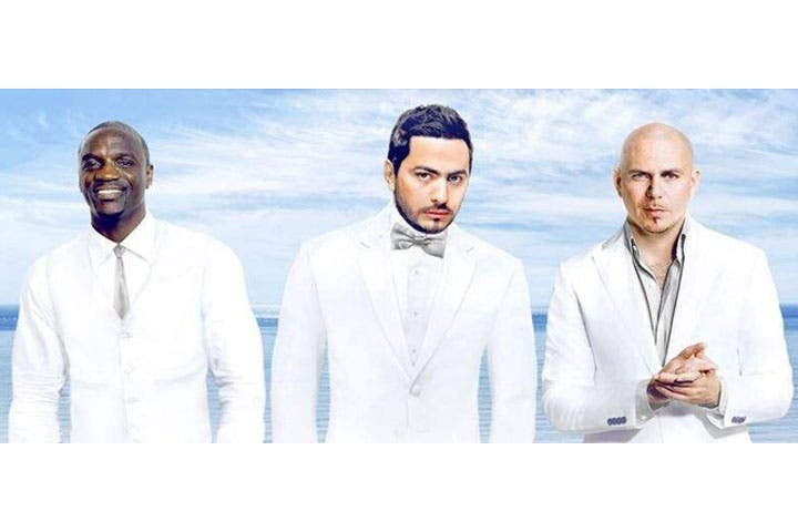 Tamer Hosny posted a picture of him alongside Akon and Pitbull on FB. (Image: Facebook)