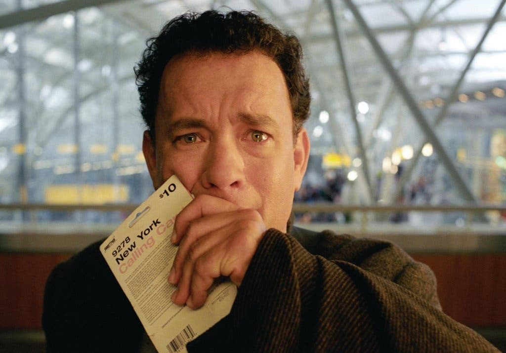 Tom Hanks in movie 'The Terminal' which captures the experience of being stuck 'living' at an airport for longer than