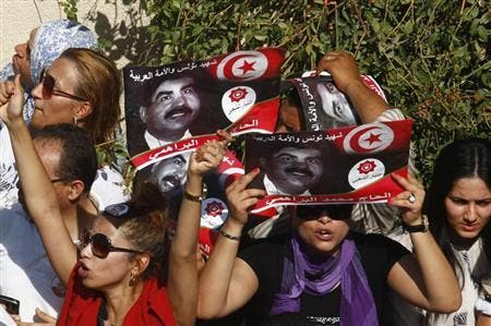 Tunisians protest after the death of Mohammad Brahimi last week. (AFP)