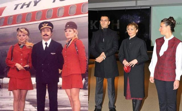 Turkish Airlines flight attendants in 1974 (L) and designer Dilek Hanif's proposed uniforms (R). (Courtesy: Turkish Airlines / European Pressphoto Agency)