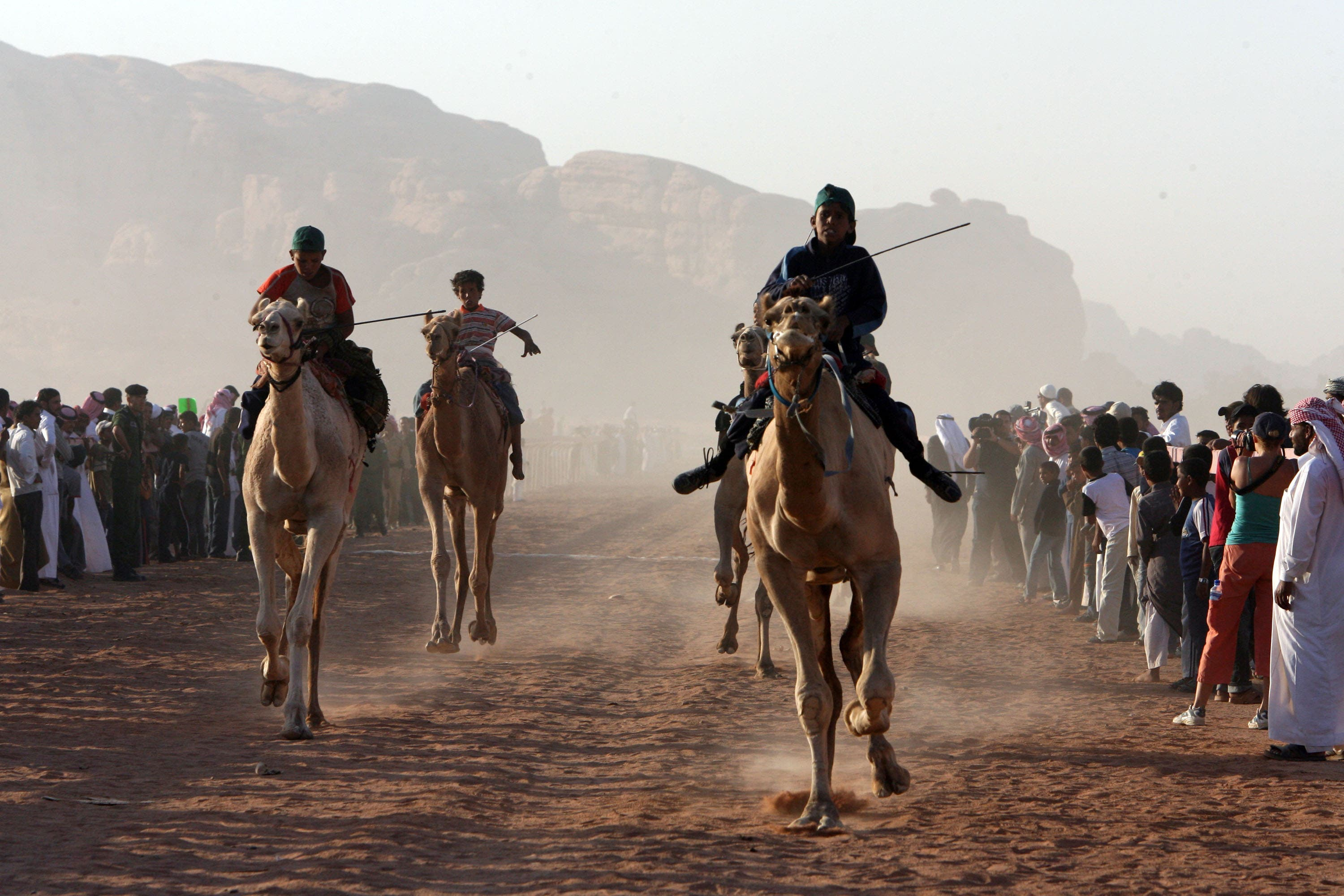 Jordan is quite organically linked to Arabia with many Hashemites tracing quite newly back to tribes in Saudi. Here, a camel race in Wadi Rum.