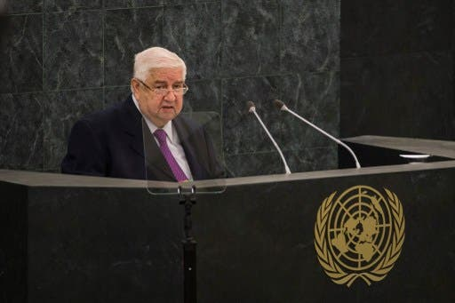 Syrian Deputy Prime Minister Walid Moallem speaks during the 68th United Nations General Assembly on September 30, 2013 in New York City. (AFP)
