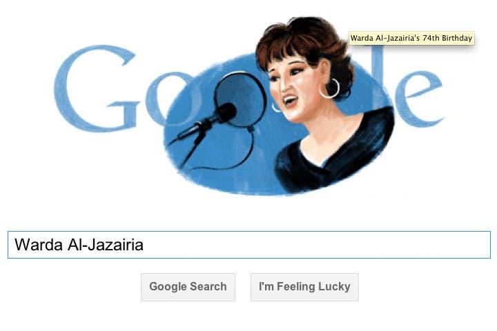 The iconic Warda Al-Jazairia receives a Google Doodle. (Image: Google)