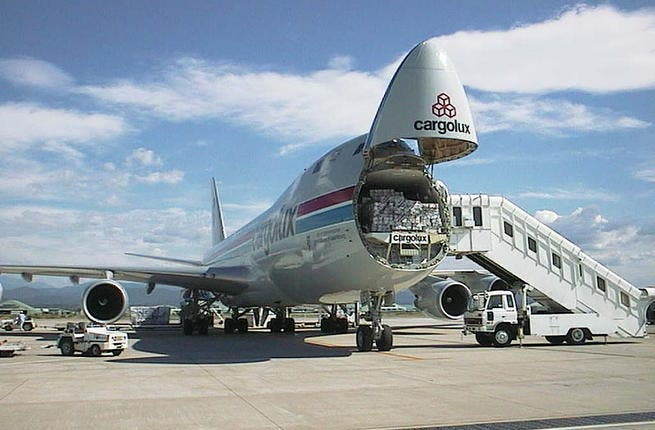 A Cargolux airplane delivers a shipment (Source: Wikimedia)