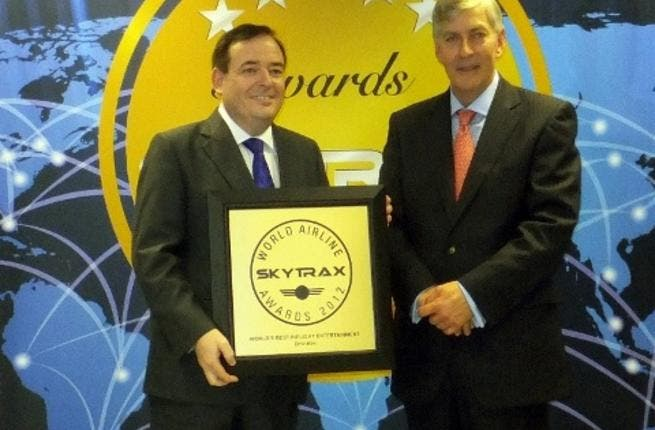 Inflight Entertainment Skytrax Award 2012 - P Brannelly and E Plaisted