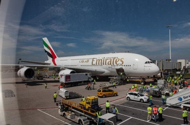 The Emirate A380 taxiing to the gate at Schiphol airport