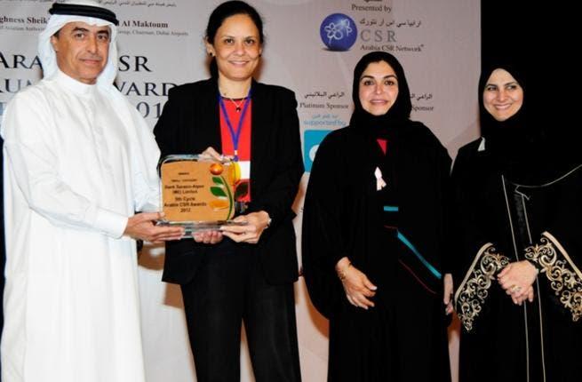 Sameena Ahmad, Managing Director, Bank Sarasin-Alpen receiving the Arabia CSR Award 2012