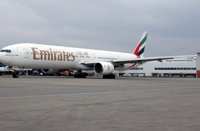 An Emirates Boeing 777 in Glasgow