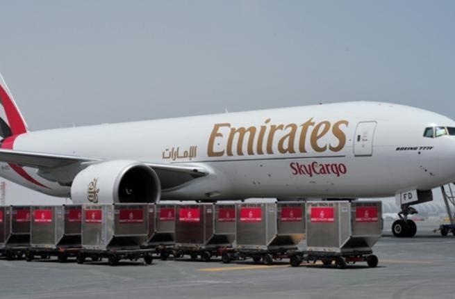 An Emirates SkyCargo Boeing 777 F