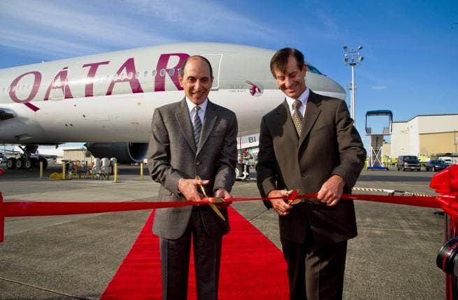 Qatar Airways Chief Executive Officer Akbar Al Baker, and Marty Bentrott, Vice President of Sales for the Middle East, Central Asia and Russia