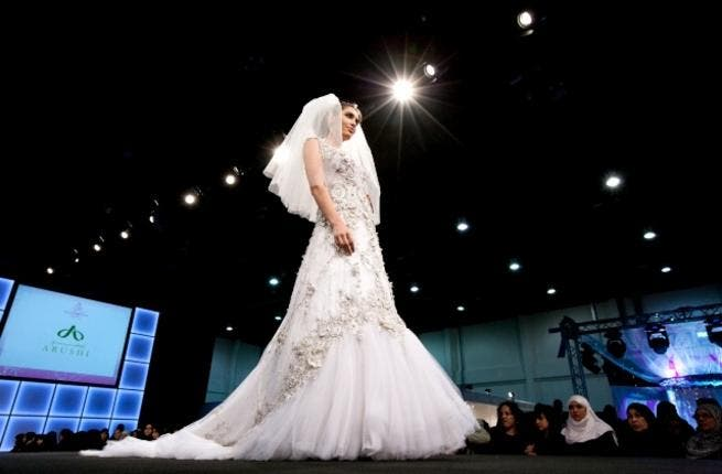 Splendid gown at the Bride Show Abu Dhabi