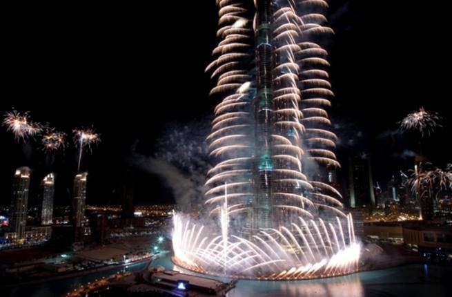The world's highest fireworks held at Burj Khalifa, Dubai by Emaar Properties to mark the New Year