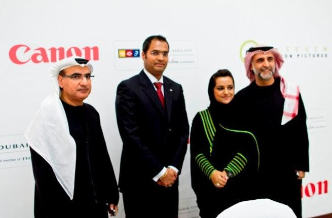 Canon executives with UAE filmmaker Nayla Al Khaja