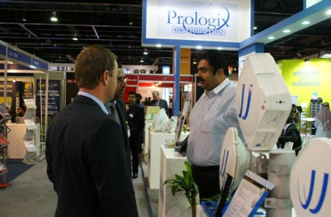 Mr. Aditya Sahaya talking to customers at the Prologix stand at the recent Gitex exhibition