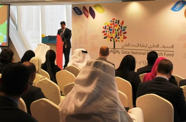 Dr. Abdul Sattar Al-Taie, QNRF's Executive Director addressing the audience at the mobile app launch