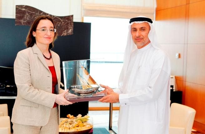 Mohammed Al Zarooni, Director General of the Dubai Airport Freezone and Belgian Ambassador, Anick Van Claster