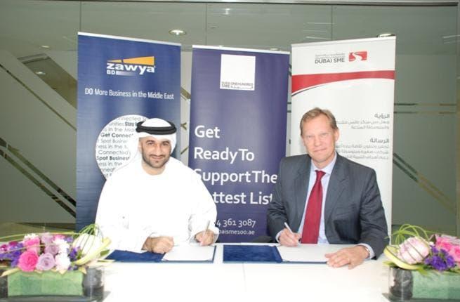 Abdul Baset Al Janahi, CEO of Dubai SME and Gunnar Skoog, CEO of Zawya during the signing