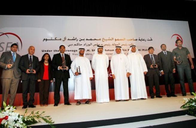 HH Sheikh Maktoum Bin Mohammed; Jamal Majid Bin Thaniah, Group CEO, Dubai World and Chairman of Dubai Trade; Mahmood Al Bastaki, Director, Dubai Trade, and winners at the ESEA 2010