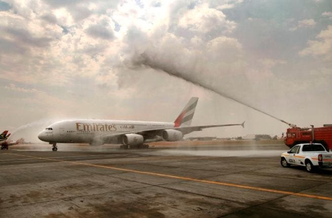 The Emirates A380 greeted with the traditional water cannon salute at O R Tambo International Airport